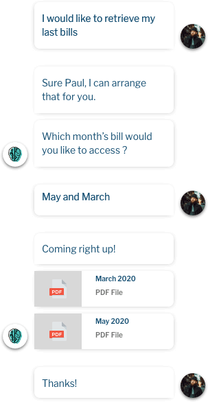 Interactions with Inbenta AI chatbot