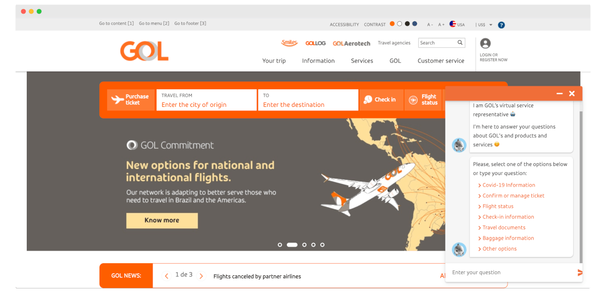 Gol Airlines chatbot example